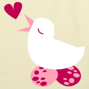 tweeter love bird with cute eggs and a love heart Bags  - Eco-Friendly Cotton Tote