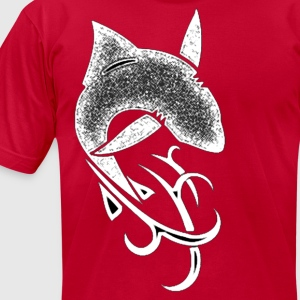 tribal shark v5 white fitted - Men's T-Shirt by American Apparel
