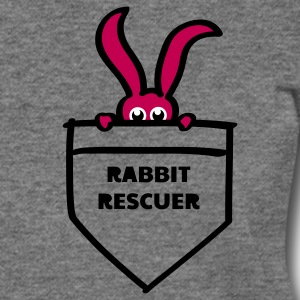 rabbit rescuer bunny rabbit hare cony leveret, bimbo help saver preserver pocket retiever savior save eyes Long Sleeve Shirts - Women's Wideneck Sweatshirt