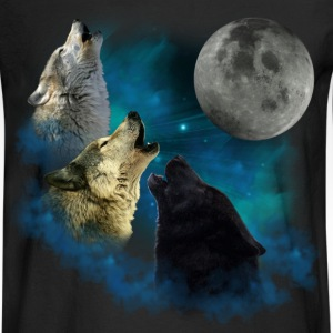 Northern Lights Wolfs Howling Long Sleeve Shirts - Men's Long Sleeve T-Shirt