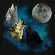 Northern Lights Wolfs Howling Hoodies