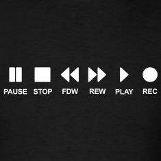Cassette musik music play stop pause Black T-Shirts