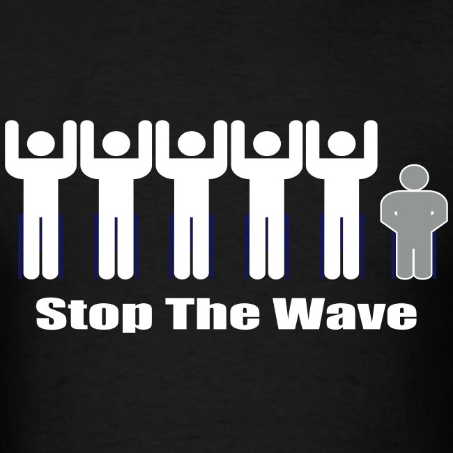 Men's Black/White/Silver Stop The Wave Logo T-Shirt
