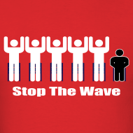 Design ~ Men's Red/White/Black Stop The Wave Logo T-Shirt