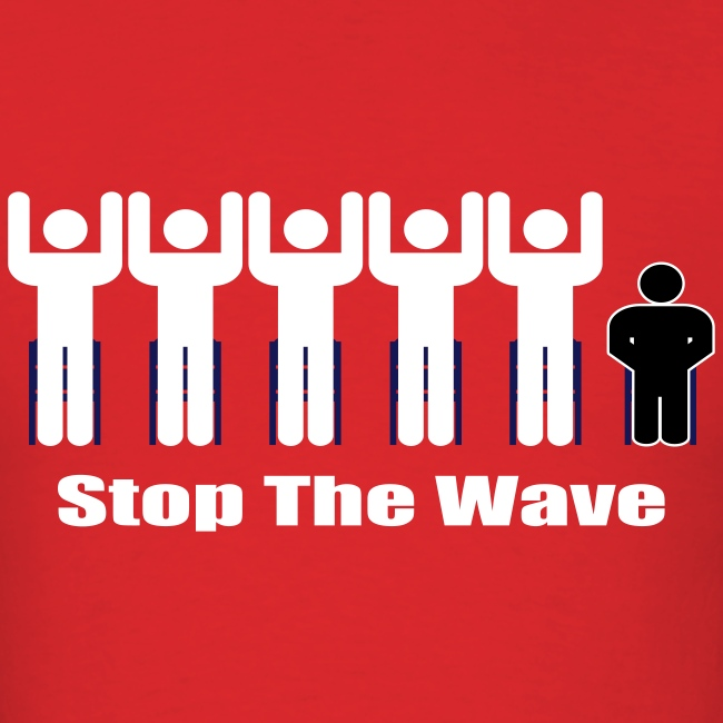 Men's Red/White/Black Stop The Wave Logo T-Shirt