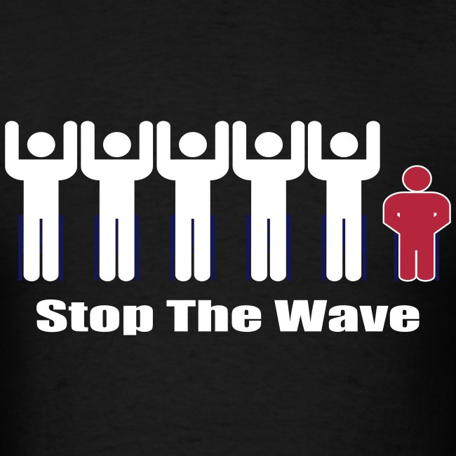 Men's Black/White/Red Stop The Wave Logo T-Shirt