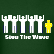 Design ~ Men's Green/White/Yellow Stop The Wave Logo T-Shirt