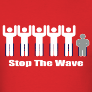 Design ~ Men's Red/White/Silver Stop The Wave Logo T-Shirt
