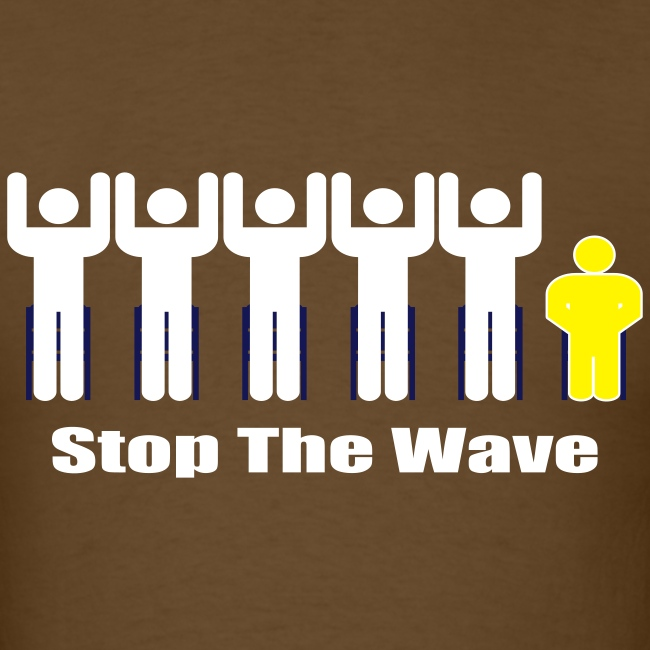 Men's Brown/White/Yellow Stop The Wave Logo T-Shirt