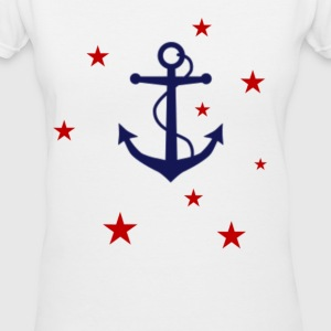 Anchor & Stars - Women's V-Neck T-Shirt