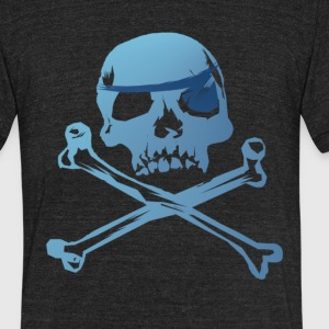 Blue Pirate Skull And Crossbones - Unisex Tri-Blend T-Shirt by American Apparel