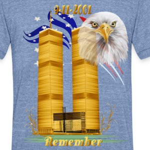 Twin Towers in Gold with Eagle n Flag - Unisex Tri-Blend T-Shirt