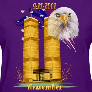 Twin Towers in Gold with Eagle n Flag - Women's T-Shirt