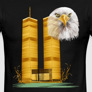 Twin Towers in Gold and Eagle - Men's Ringer T-Shirt