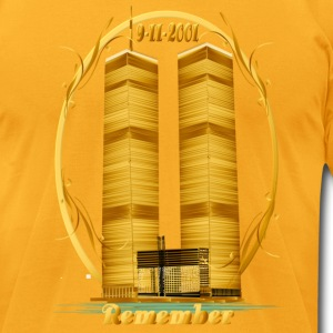 Twin Towers in Gold - Men's T-Shirt by American Apparel