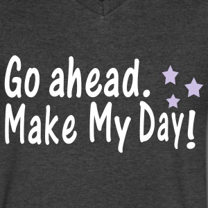 Go ahead.make my day txt vector line art   Men's V-Neck T-Shirt by Canvas   - Men's V-Neck T-Shirt by Canvas