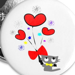 kitty cat & hearts vector art large button - Large Buttons