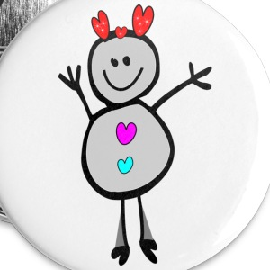 cute smiley snowman deer  vector art small button  - Small Buttons