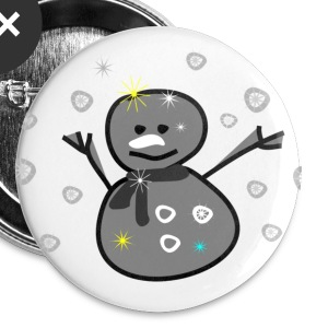 cute smiley snowman vector art large button - Large Buttons