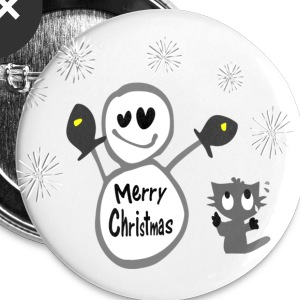 Merry Christmas txt snowman & cat vector art large button - Large Buttons
