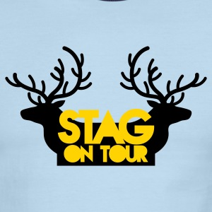 BACHELOR stag on tour with reindeer stags T-Shirts - Men's Ringer T-Shirt