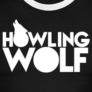 HOWLING WOLF wolves howling at the moon silver T-Shirts - Men's Ringer T-Shirt