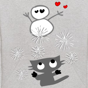 Cute kitty cat & snowman animation vector art Kid's Hooded Sweatshirt - Kids' Hoodie