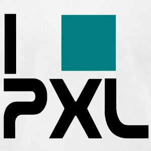 I love pixel, font type, stencil, PXL computer nerd and geek T-Shirts - Men's T-Shirt by American Apparel