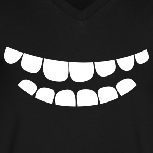creepy smile teeth T-Shirts - Men's V-Neck T-Shirt by Canvas