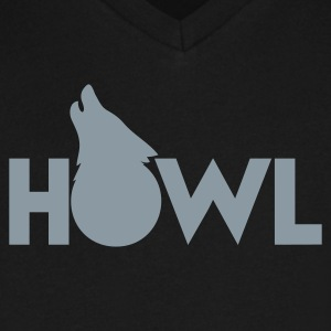 moon wolf HOWL T-Shirts - Men's V-Neck T-Shirt by Canvas