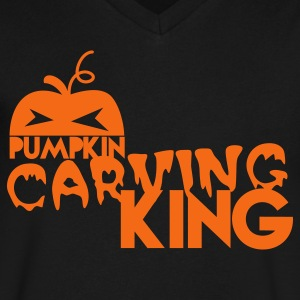 pumpkin carving king T-Shirts - Men's V-Neck T-Shirt by Canvas