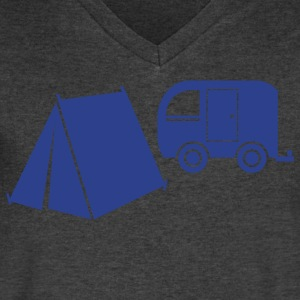 camp tent and camper caravan trailer T-Shirts - Men's V-Neck T-Shirt by Canvas