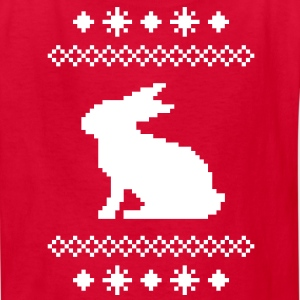 norwegian bunny christmas rabbit hare knitting pattern winter snowflake snow crystal frost snow flower cony leveret Kids' Shirts - Kids' T-Shirt