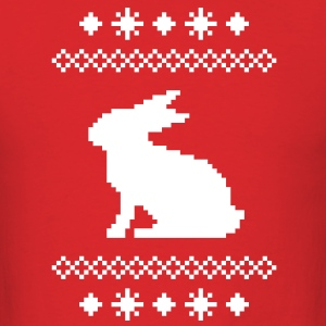 norwegian bunny christmas rabbit hare knitting pattern winter snowflake snow crystal frost snow flower cony leveret T-Shirts - Men's T-Shirt