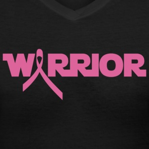 Pink Ribbon Breast Cancer Warrior Women's T-Shirts - Women's V-Neck T-Shirt
