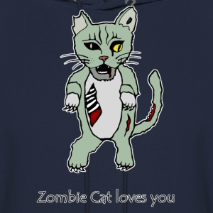 Zombie Cat Loves You Hoodies - Men's Hoodie