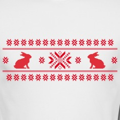 rabbits bunny hare cony leveret christmas norwegian pattern easter snowflake Long Sleeve Shirts