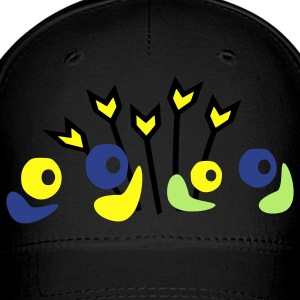 unique flowers pattern vector graphic line art Baseball Cap - Baseball Cap