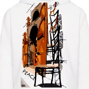 A Chair street view of Europe graphic art Men's Hooded Sweatshirt - Men's Hoodie