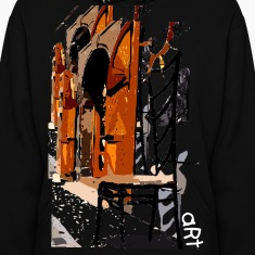 A Chair street view of Europe graphic art Women's Hooded Sweatshirt