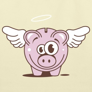 A funny piggy bank with wings  Bags  - Eco-Friendly Cotton Tote