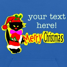 Merry Christmas txt black cat vector art Kid's Hooded Sweatshirt