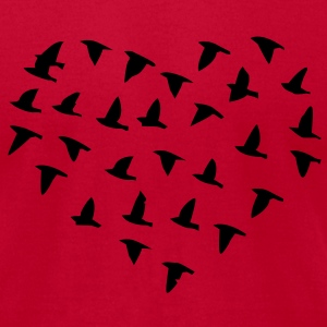 Heart Flock of Birds T-Shirts - Men's T-Shirt by American Apparel