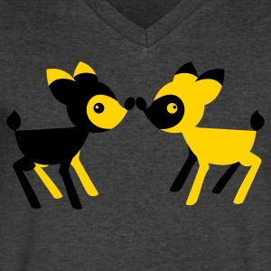 lover little deers noses together opposite T-Shirts - Men's V-Neck T-Shirt by Canvas