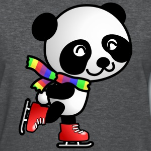 Cute Kawaii Skating Panda with Rainbow Scarf T-Shirt - Women's T-Shirt