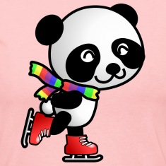 Cute Kawaii Skating Panda with Rainbow Scarf Long Sleeve Shirt