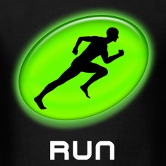 Cool Green Glowing RUN Runner Black T-Shirt