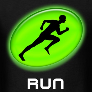 Cool Green Glowing RUN Runner Black T-Shirt - Men's T-Shirt