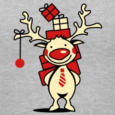 cute reindeer with red nose and Christmas presents  Women's T-Shirts