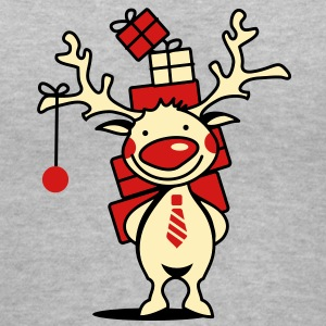 cute reindeer with red nose and Christmas presents  Women's T-Shirts - Women's V-Neck T-Shirt